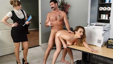 little skirt Natasha fucked hard by boss in office
