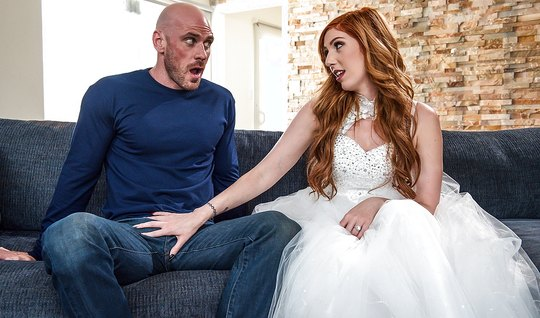 Cute redhead fights with a neighbor in a wedding dress – youjizz porn
